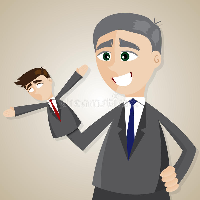 Cartoon puppet businessman manipulated by older boss stock illustration