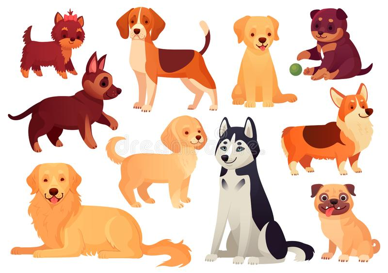 Cartoon puppy and dog. Happy puppies with smiling muzzle, loyal dogs and friendly dog isolated vector set. Cartoon puppy and dog. Happy puppies with smiling stock illustration