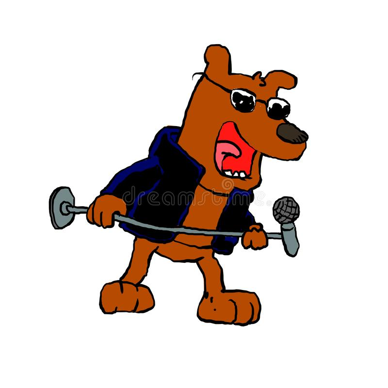 Cartoon puppy rocker. Cartoon illustration stock illustration