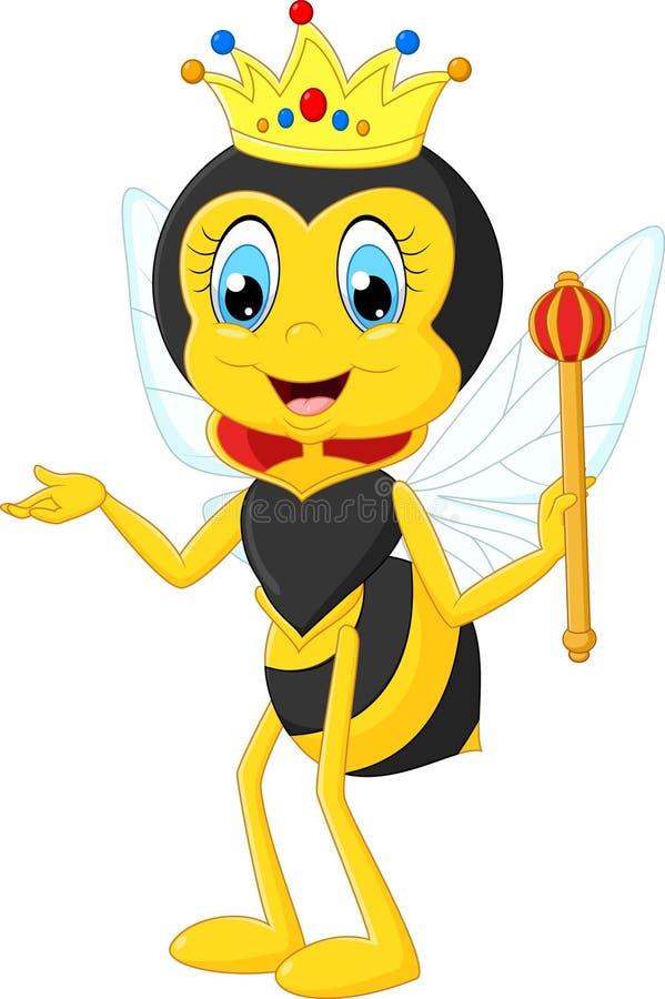 Cartoon queen bee presenting stock illustration