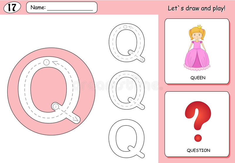 Cartoon queen and question. Alphabet tracing worksheet: writing. A-Z, coloring book and educational game for kids royalty free illustration