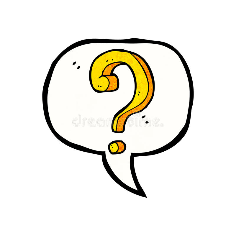 cartoon question mark with speech bubble stock illustration