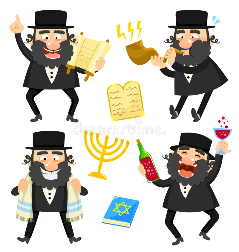 Cartoon rabbis stock illustration