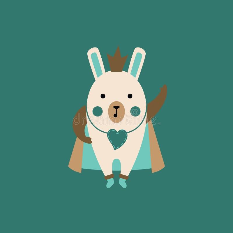 Cartoon rabbit character with crown stock photos