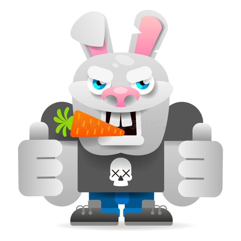 Cartoon Rabbit Character. Vector Illustration. Isolated On White Background royalty free illustration