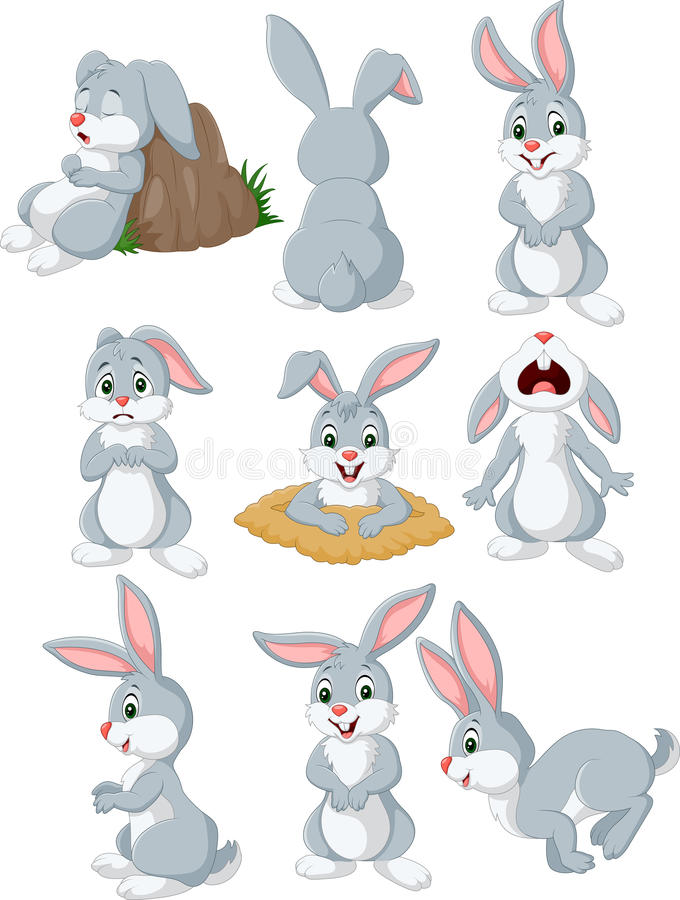 Cartoon rabbit with different pose and expression vector illustration