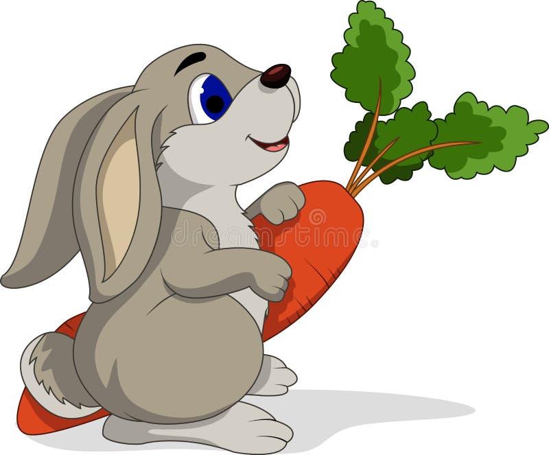 Cartoon rabbit holding carrots stock illustration
