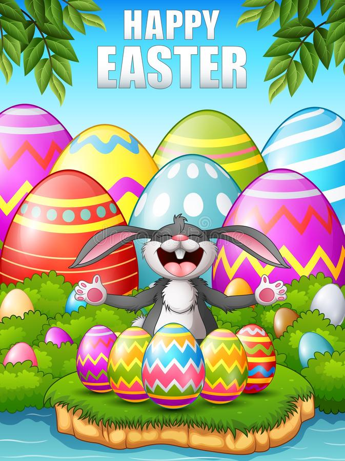 Cartoon rabbit laughing with five decorated easter eggs in the woods near the river royalty free illustration
