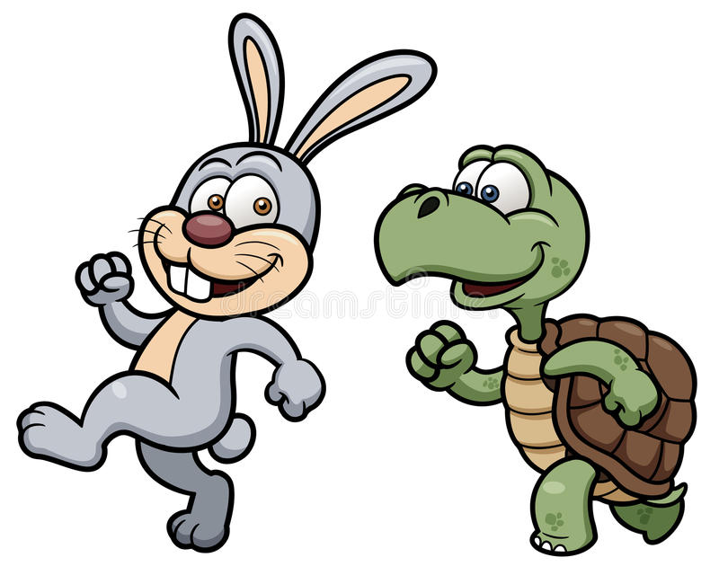Cartoon Rabbit and turtle stock image