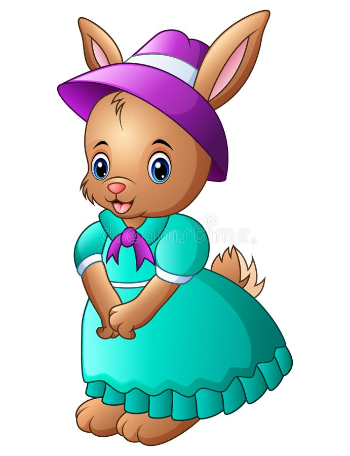 Cartoon rabbit wearing blue dress with a purple hat stock illustration