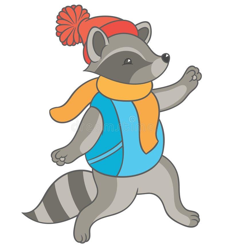Cartoon raccoon fun runs royalty free illustration