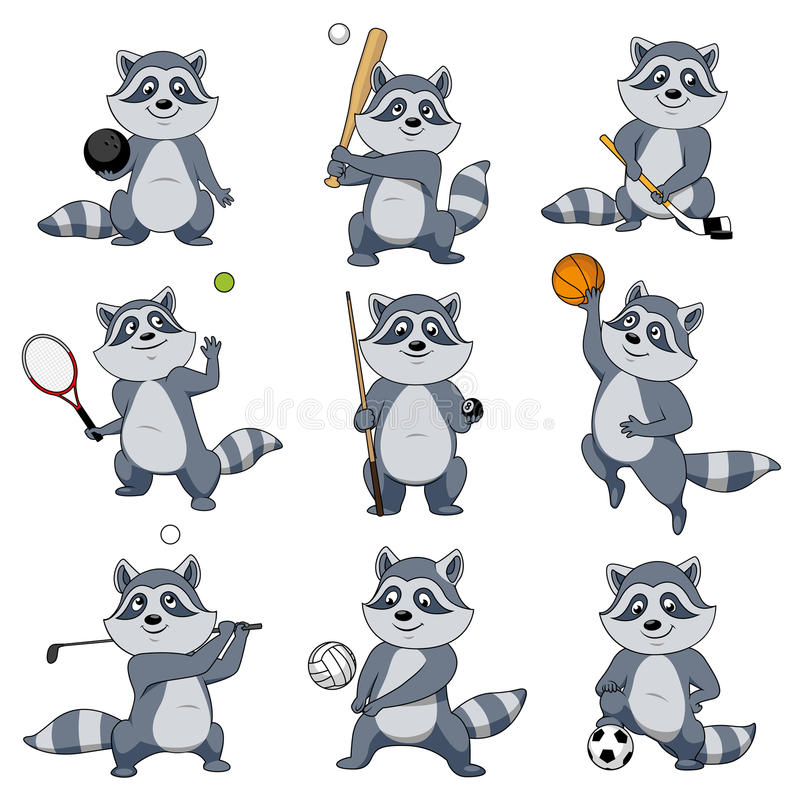 Cartoon raccoon play sports vector mascot icons vector illustration