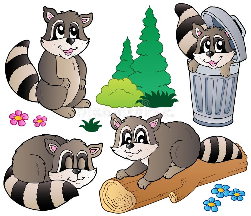 Download Cartoon racoons collection stock vector. Image of object - 20015627