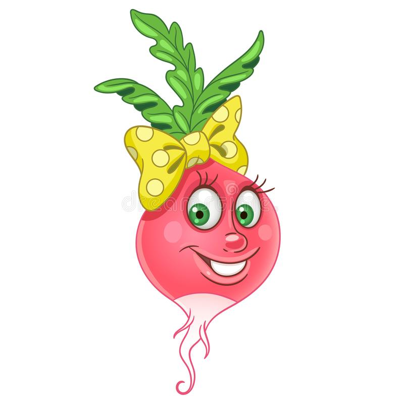 Cartoon Radish character royalty free illustration