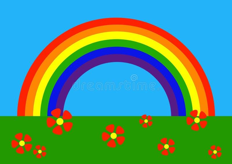 Cartoon: rainbow. Simple vector drawing of rainbow stock illustration