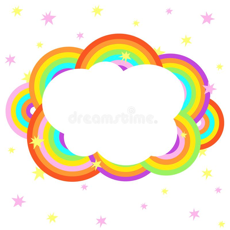 Cartoon rainbow cloud with stars design template stock photo