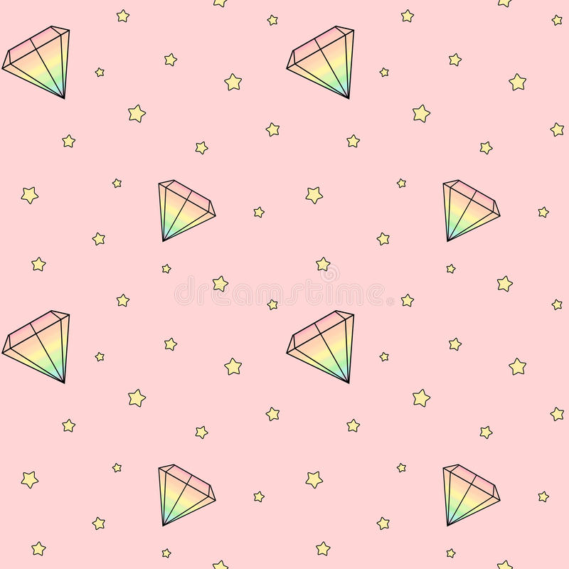Cartoon rainbow watercolor diamonds on pink background with yellow stars seamless pattern illustration. Cute cartoon rainbow watercolor diamonds on pink royalty free illustration