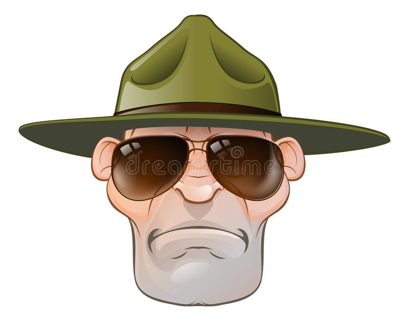 Cartoon Ranger or Drill Sergeant stock illustration