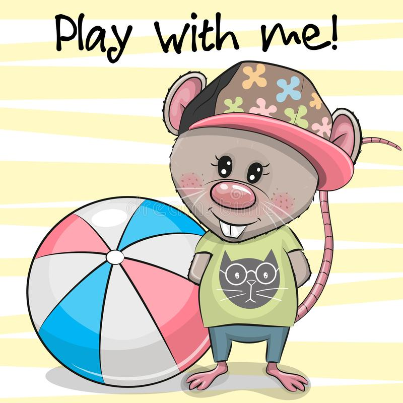 Cartoon Rat with a ball on a yellow background royalty free illustration