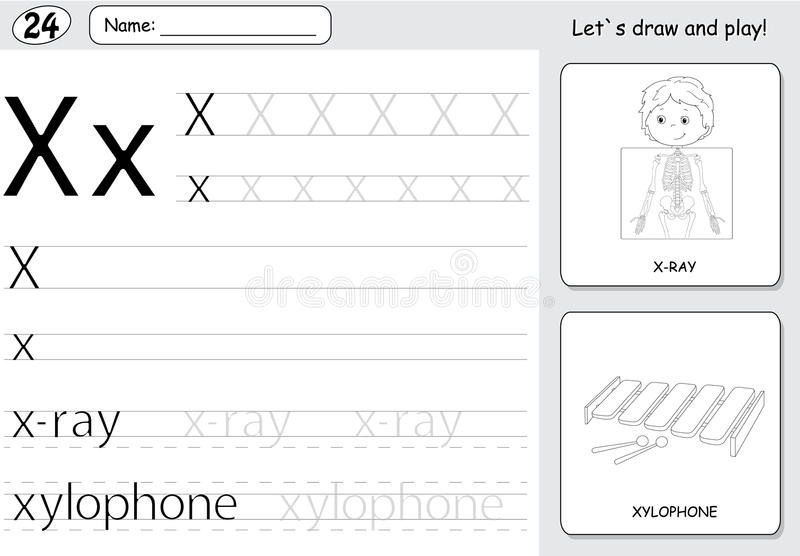 Download Cartoon X Ray Boy And Xylophone Alphabet Tracing Worksheet Wri Stock Vector