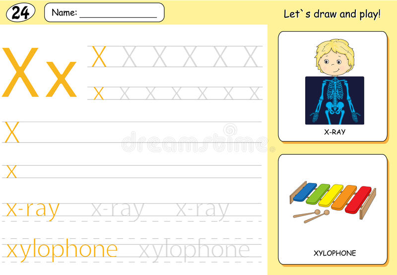 Cartoon x-ray boy and xylophone. Alphabet tracing worksheet. Writing A-Z, coloring book and educational game for kids stock illustration