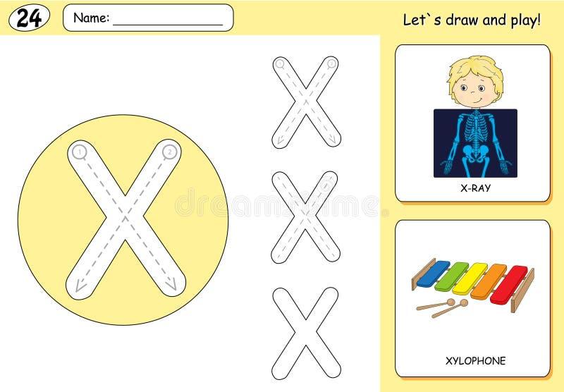 Cartoon X-ray Boy And Xylophone. Alphabet Tracing