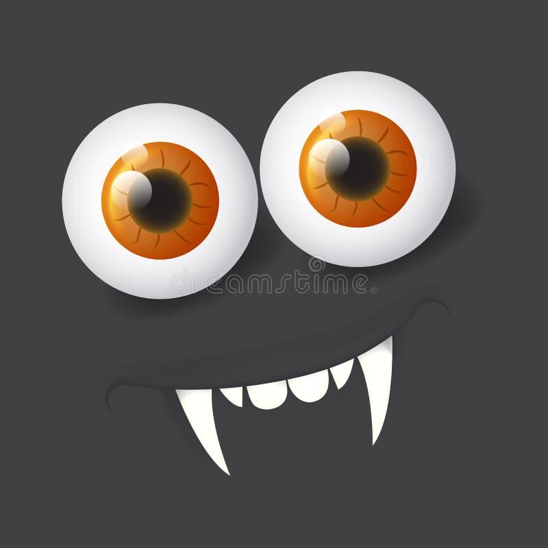 Cartoon realistic 3d alien vampire face. Vector Halloween monster with eyes. Design for print, decoration, logo, emblem, book. Cartoon alien face. Vector vector illustration