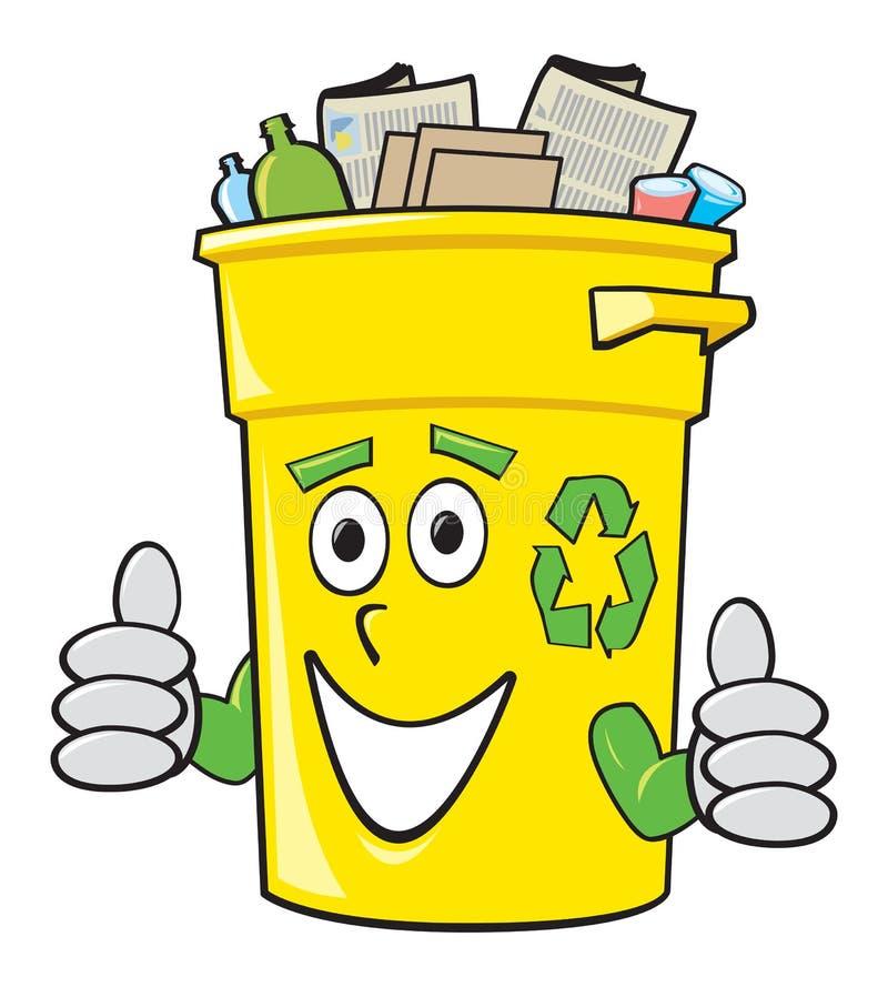 Cartoon Recycling Bin. A smiling yellow cartoon recycling bin giving two thumbs up vector illustration