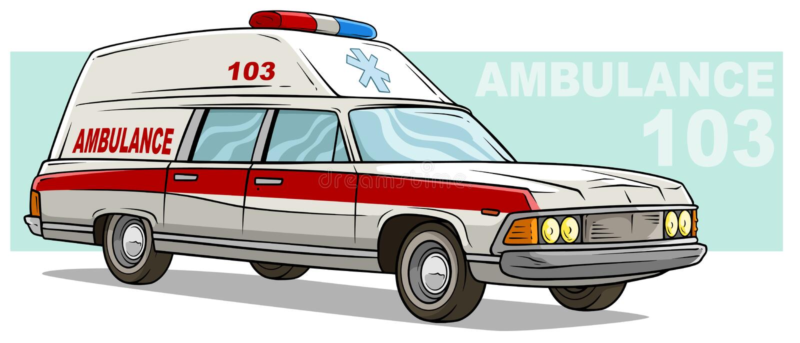 Cartoon ambulance emergency retro long car vector illustration