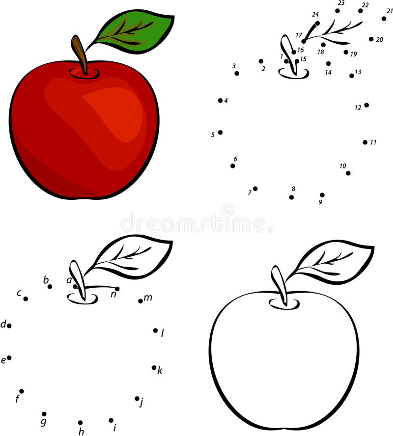Cartoon red apple. Vector illustration. Coloring and dot to dot vector illustration