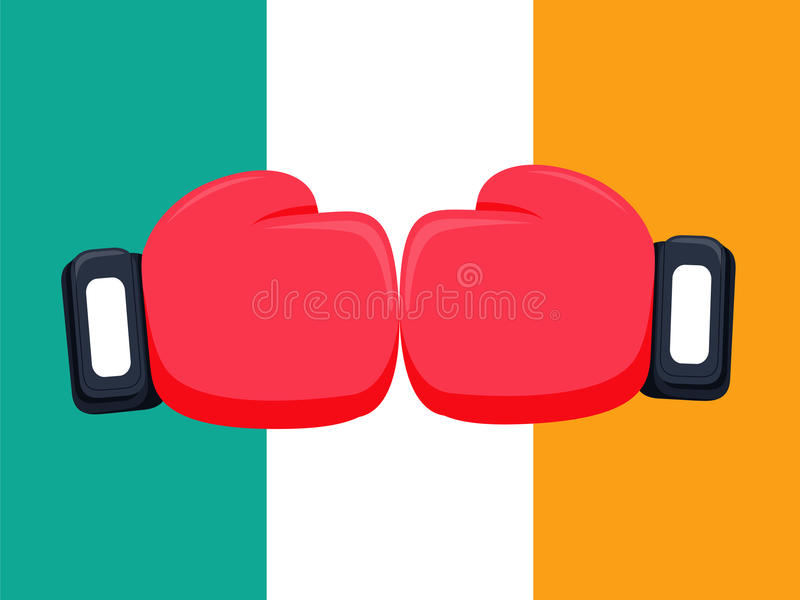 Cartoon red and black boxing glove icon, front.Vector illustration of fight stock illustration