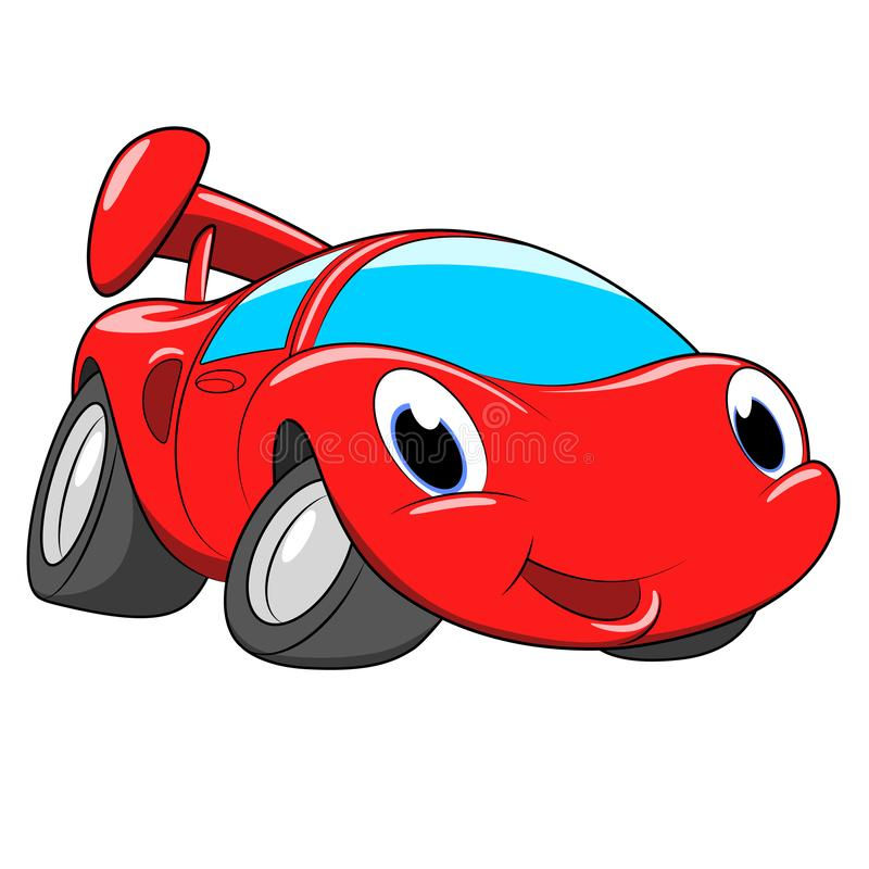 Cartoon red car. A race car on a white background. vector illustration