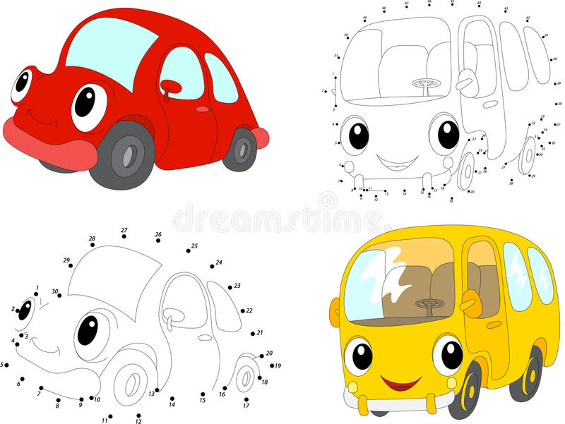 cartoon red car and yellow bus vector illustration dot to dot stock vector illustration of. Black Bedroom Furniture Sets. Home Design Ideas