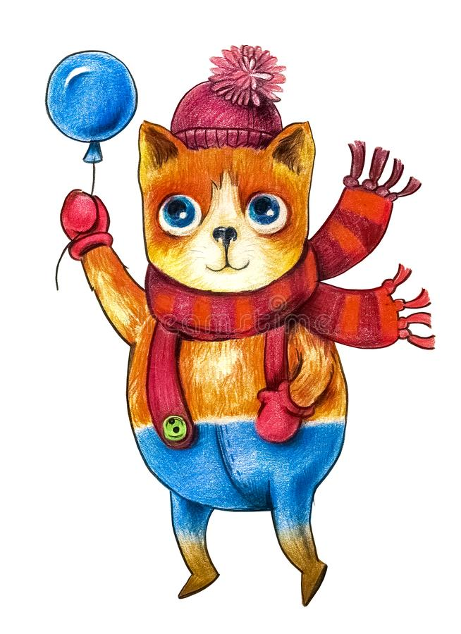 Cartoon, red cat in a red hat and scarf, flying on a blue balloon. isolated object stock illustration