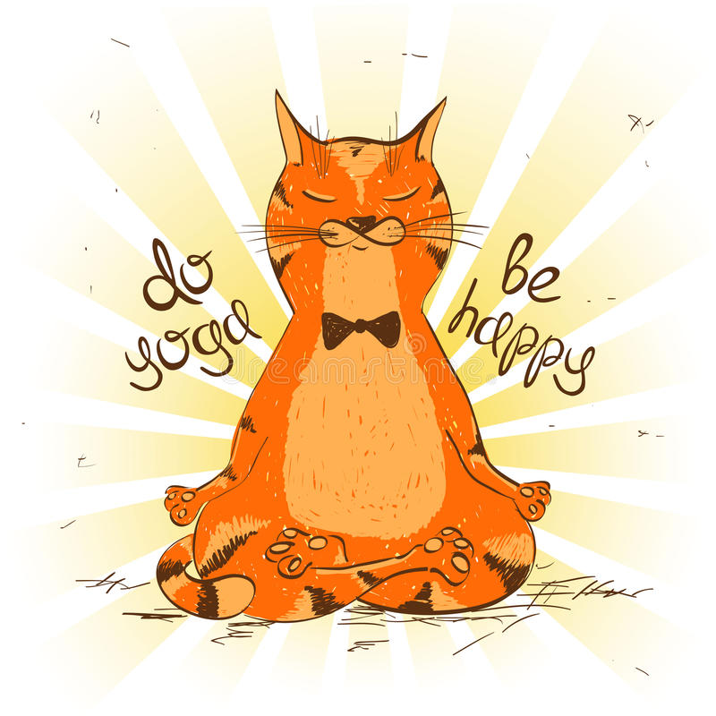 Cartoon red cat sitting on lotus position of yoga. Funny illustration with cartoon red cat sitting on lotus position of yoga vector illustration