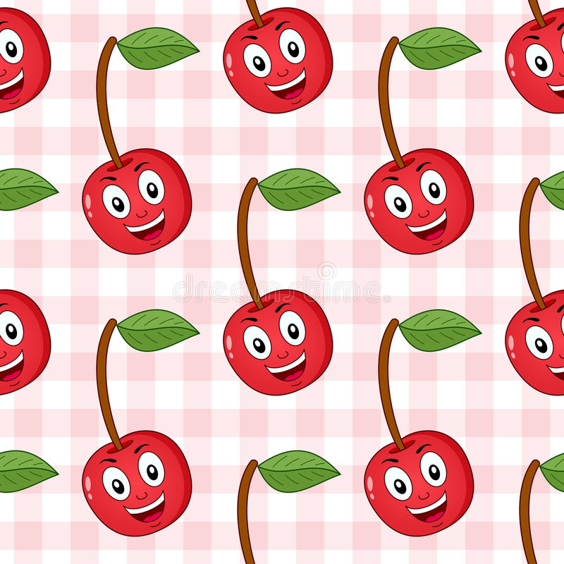 Cartoon Red Cherry Seamless Pattern. A seamless pattern with a cartoon happy red cherry character smiling, on a checkered picnic tablecloth background. Useful stock illustration