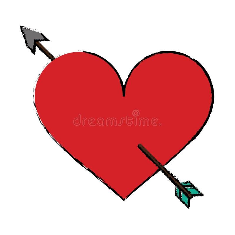Cartoon Red Heart With Arrow Love Symbol Stock Vector Illustration