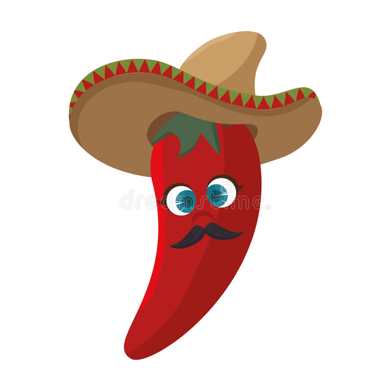 Cartoon red hot chili pepper with mexican hat. Vector illustration royalty free illustration