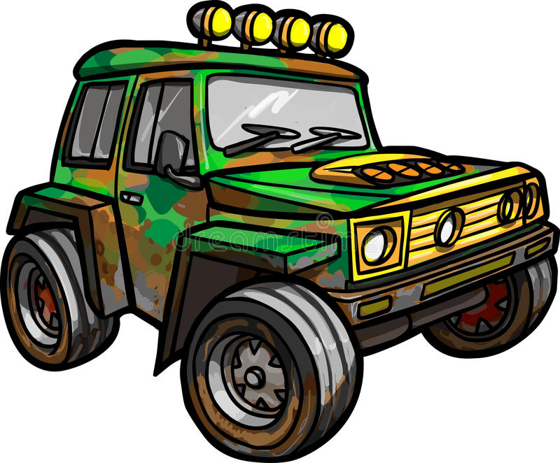 Cartoon red jeep. isolated. Colored stock illustration