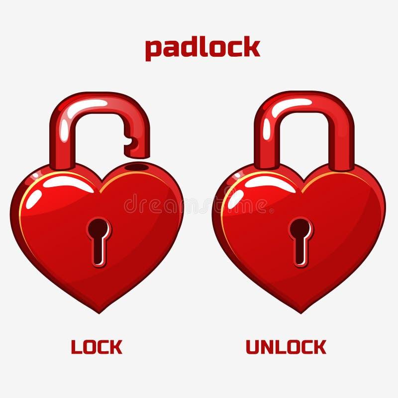 Cartoon red padlock in heart shaped, royalty free illustration