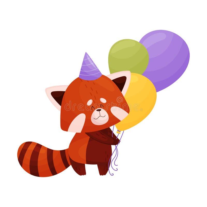 Cartoon Red Panda Character Carrying Balloons Vector Illustration vector illustratie