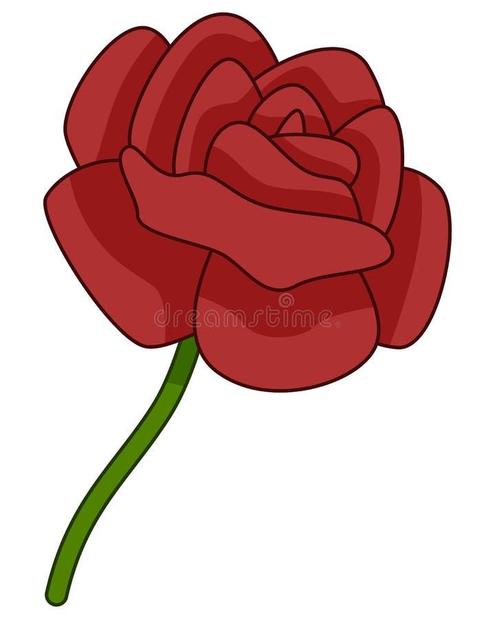 Cartoon Red Rose Flower Icon stock illustration