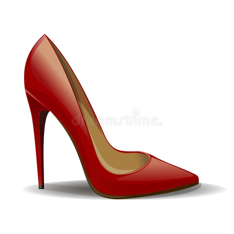 Cartoon red women shoes isolated on white background. Realistic female shoes stock illustration