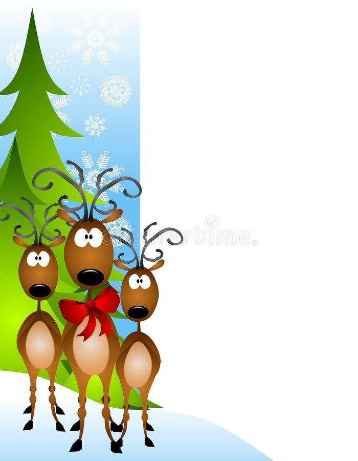 Cartoon Reindeer Border stock illustration