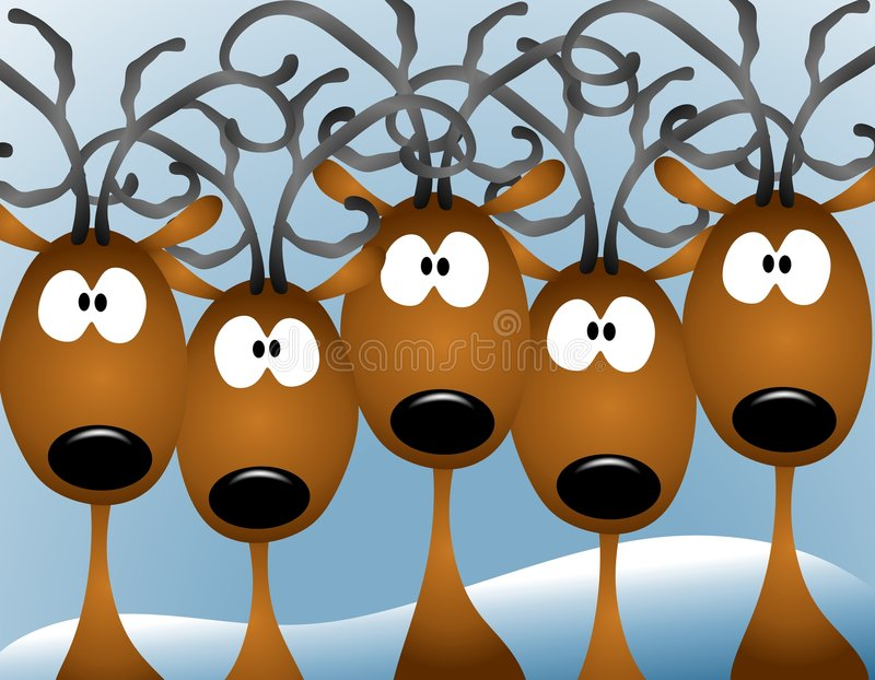 Cartoon Reindeer Christmas Card. A clip art illustration featuring a group of cartoonish stunned looking reindeer facing forward