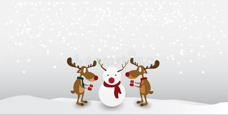 Christmas Cartoon reindeer Cute Character on winter snow background. vector illustration