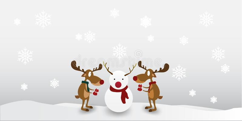 Christmas Cartoon reindeer Cute Character on winter snowflake background. Greeting card for Merry Christmas royalty free illustration