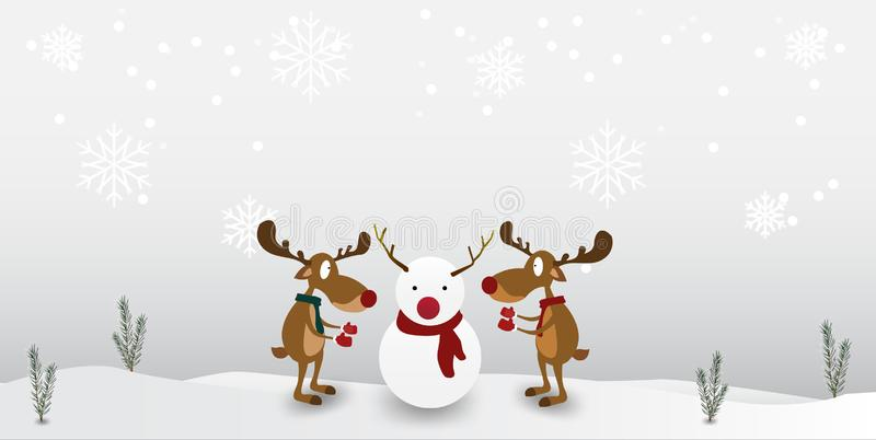 Christmas Cartoon reindeer Cute Character on winter snowflake background. Greeting card for Merry Christmas stock illustration