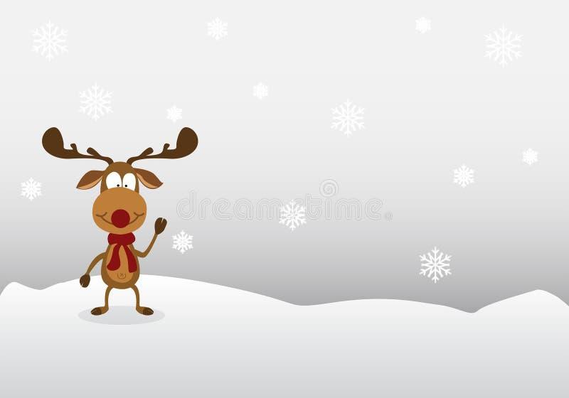 Cartoon reindeer Cute on winter background. royalty free stock photo