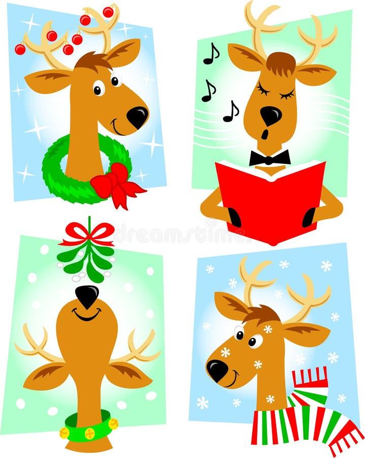 Cartoon Reindeer/eps. Cute retro cartoon reindeer in a variety of Christmas/holiday poses